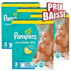 Giga pack 240 Couches Pampers Active Baby Dry taille 3