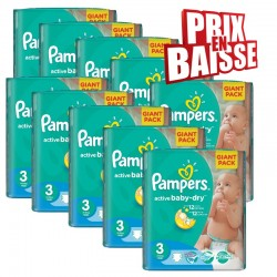 Maxi giga pack 300 Couches Pampers Active Baby Dry taille 3