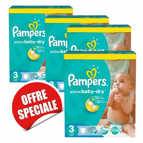 Maxi giga pack 330 Couches Pampers Active Baby Dry taille 3 sur Couches Zone