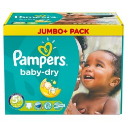 Pack jumeaux 504 Couches Pampers Baby Dry taille 5+ sur Couches Zone