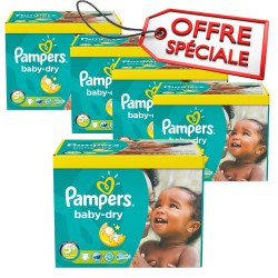 Pack jumeaux 588 Couches Pampers Baby Dry taille 5+ sur Couches Zone