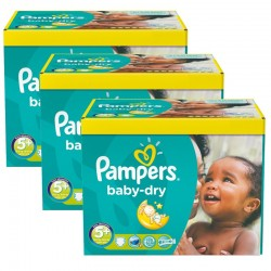 Pack jumeaux 672 Couches Pampers Baby Dry taille 5+ sur Couches Zone
