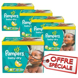 Pack jumeaux 840 Couches Pampers Baby Dry taille 5+ sur Couches Zone