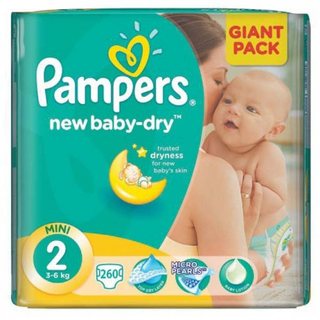 Pack jumeaux 1152 Couches Pampers New Baby Dry taille 2 sur Couches Zone