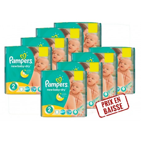 Pack jumeaux 1296 Couches Pampers New Baby Dry taille 2 sur Couches Zone