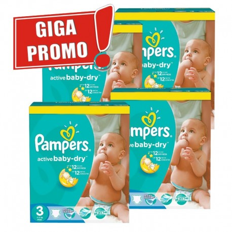 Pack jumeaux 1088 Couches Pampers Active Baby Dry taille 3 sur Couches Zone