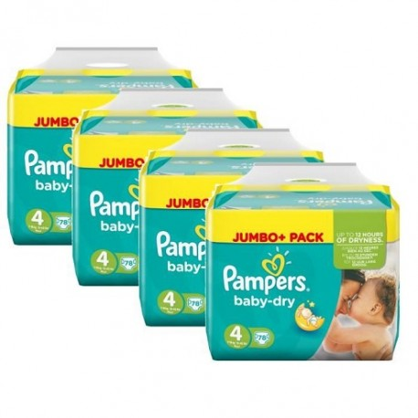 Pack jumeaux 550 Couches Pampers Baby Dry taille 4 sur Couches Zone