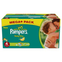 Pack jumeaux 625 Couches Pampers Baby Dry taille 4