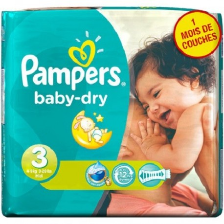 Pack 30 Couches Pampers Baby Dry taille 3 sur Couches Zone
