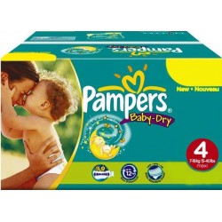 Pack jumeaux 686 Couches Pampers Baby Dry taille 4