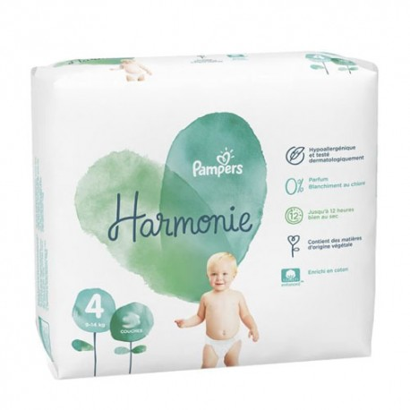 Pack 19 Couches Pampers Harmonie taille 4 sur Couches Zone