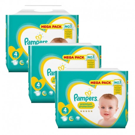 Mega pack 123 Couches Pampers Premium Protection taille 4 sur Couches Zone
