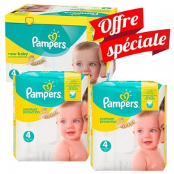 Maxi mega pack 410 Couches Pampers Premium Protection taille 4 sur Couches Zone
