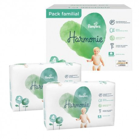 Pack 38 Couches Pampers Harmonie taille 4 sur Couches Zone