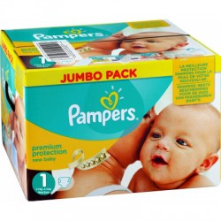 Pack 88 Couches Pampers Premium Protection taille 1 sur Couches Zone