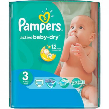 Mega pack 124 Couches Pampers Active Baby Dry taille 3 sur Couches Zone
