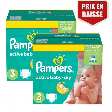 Giga pack 248 Couches Pampers Active Baby Dry taille 3 sur Couches Zone