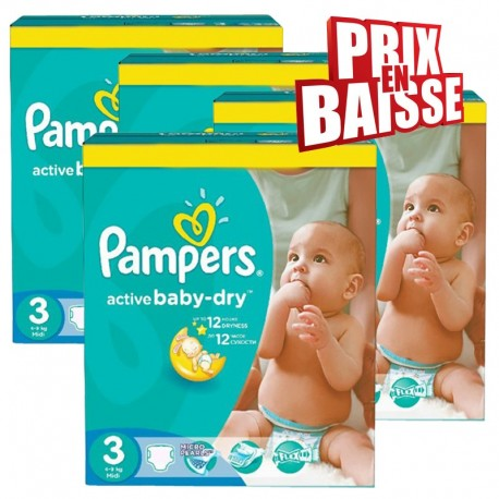 Maxi giga pack 372 Couches Pampers Active Baby Dry taille 3 sur Couches Zone