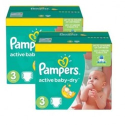 Pack jumeaux 744 Couches Pampers Active Baby Dry taille 3