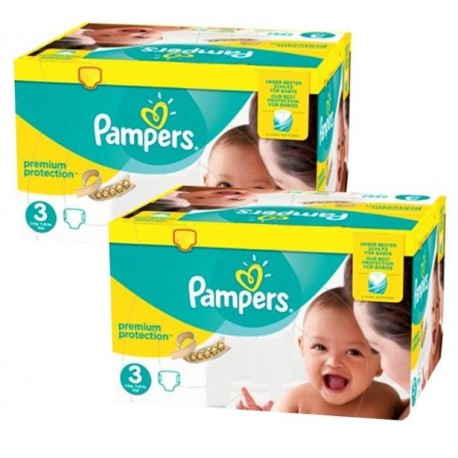 Pack jumeaux 612 Couches Pampers New Baby Premium Protection taille 3 sur Couches Zone