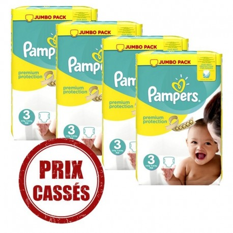 Pack jumeaux 522 Couches Pampers Premium Protection taille 3 sur Couches Zone