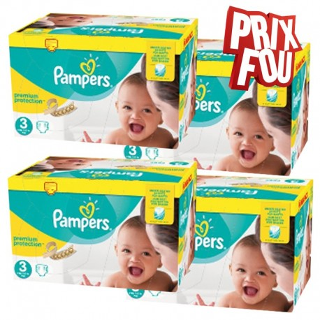 Pack jumeaux 580 Couches Pampers Premium Protection taille 3 sur Couches Zone