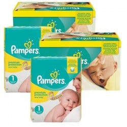 Pack jumeaux 560 Couches Pampers Premium Protection taille 1 sur Couches Zone