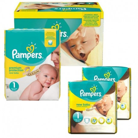 Pack jumeaux 616 Couches Pampers Premium Protection taille 1 sur Couches Zone