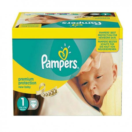 Pack jumeaux 840 Couches Pampers Premium Protection taille 1 sur Couches Zone