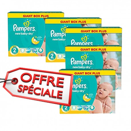 Maxi giga pack 340 Couches Pampers New Baby Dry taille 2 sur Couches Zone