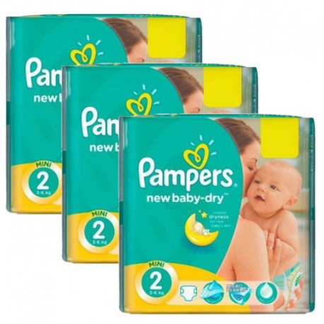 Pack jumeaux 816 Couches Pampers New Baby Dry taille 2 sur Couches Zone