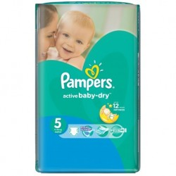 Pack 42 Couches Pampers Active Baby Dry taille 5 sur Couches Zone