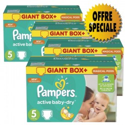 Pack 84 Couches Pampers Active Baby Dry taille 5 sur Couches Zone