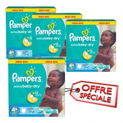 Maxi mega pack 406 Couches Pampers Active Baby Dry taille 4+ sur Couches Zone