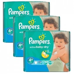 Pack jumeaux 580 Couches Pampers Active Baby Dry taille 4+ sur Couches Zone