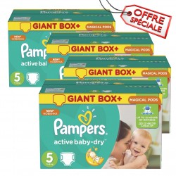 Mega pack 128 Couches Pampers Active Baby Dry taille 5 sur Couches Zone