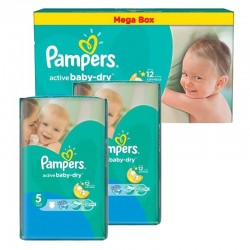 Pack jumeaux 512 Couches Pampers Active Baby Dry taille 5 sur Couches Zone
