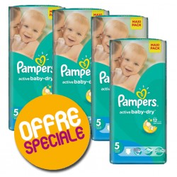 Pack jumeaux 640 Couches Pampers Active Baby Dry taille 5 sur Couches Zone