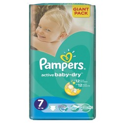 Pack 44 Couches Pampers Active Baby Dry taille 7 sur Couches Zone