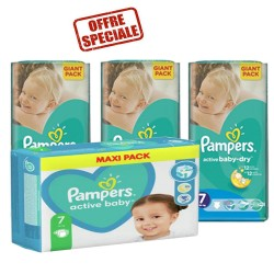 Pack 88 Couches Pampers Active Baby Dry taille 7 sur Couches Zone