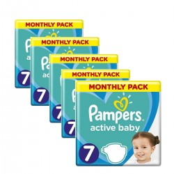Mega pack 132 Couches Pampers Active Baby Dry taille 7 sur Couches Zone