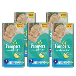Giga pack 220 Couches Pampers Active Baby Dry taille 7 sur Couches Zone