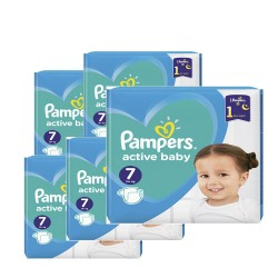 Pack 99 Couches Pampers Active Baby Dry taille 7 sur Couches Zone