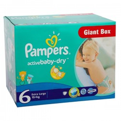 Giga Pack 144 couches Pampers Active Baby Dry sur Couches Zone
