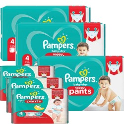 Giga pack 270 Couches Pampers Baby Dry Pants taille 4