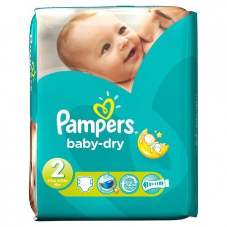 Pack 46 Couches Pampers Baby Dry taille 2 sur Couches Zone