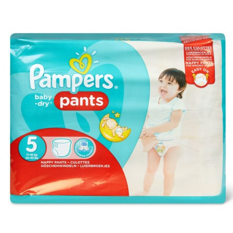 Pack 22 Couches Pampers Baby Dry Pants taille 5 sur Couches Zone