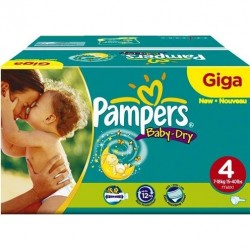 Pack jumeaux 544 Couches Pampers Baby Dry taille 4 sur Couches Zone