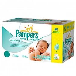 Sensitive - Pack économique de 648 Lingettes Bébés Pampers - 12 Packs de 56 sur Couches Zone