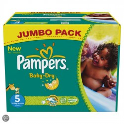 Pack 88 Couches Pampers Baby Dry taille 5 sur Couches Zone